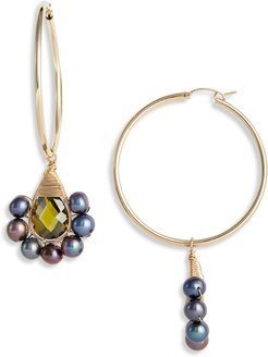 Peacock Lolita Crystal & Freshwater Pearl Hoop Earrings