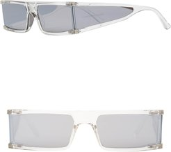 X Kkw Tempest 56Mm Wraparound Rectangle Sunglasses - Clear Silver/ Silver Mirror