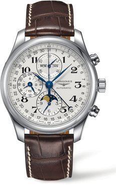 Master Automatic Chronograph Leather Strap Watch, 42Mm