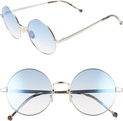 53Mm Polarized Round Sunglasses - Siliver/ Reef Blue