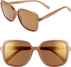 Magnolia 58Mm Polarized Mirrored Square Sunglasses -