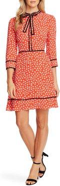 Daisy Melody Tie Neck A-Line Dress