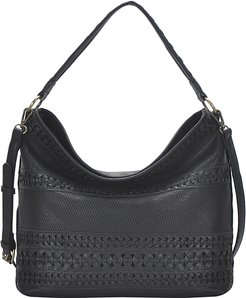 Braided Faux Leather Hobo Bag - Black