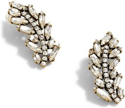 Pave Feather Climber Earrings