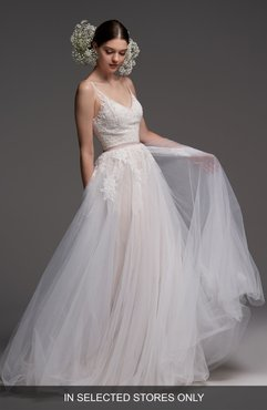 Avignon Lace & Tulle A-Line Gown, Size - Ivory