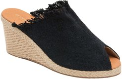 Popy Frayed Wedge Mule