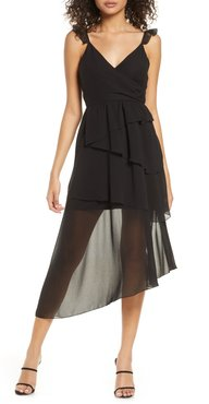 Alice Sheer Detail Asymmetrical Hem Dress