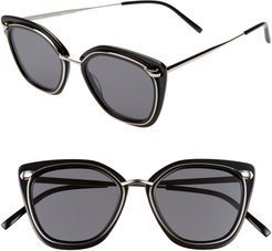 Temple 52Mm Sunglasses - Black/ Silver