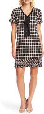 Grid Tweed Short Sleeve A-Line Dress