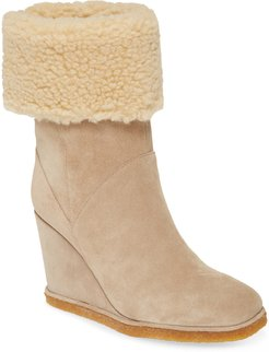 Faux Shearling Wedge Boot
