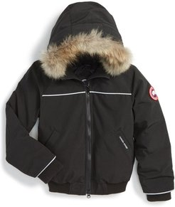 Toddler Canada Goose 'Grizzly' Down Hooded Bomber Jacket With Genuine Coyote Fur Trim