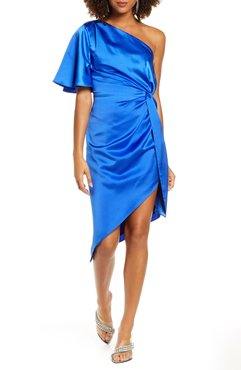 One-Shoulder Satin Cocktail Dress