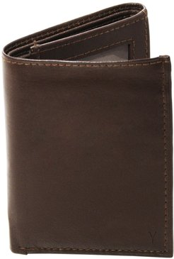 'Oxford' Monogram Leather Trifold Wallet - Brown