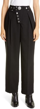 Button Detail Pleated Wide Leg Trousers