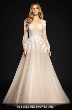 Winnie Long Sleeve Lace & Tulle Ballgown, Size - Beige