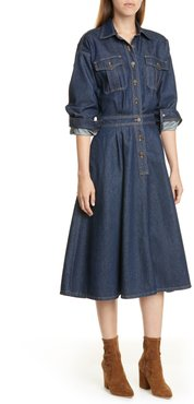 Long Sleeve A-Line Denim Dress