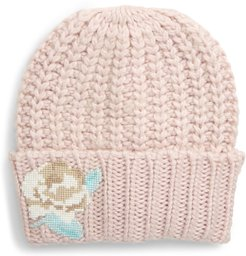 Everything Rosy Floral Applique Rib Beanie - Pink