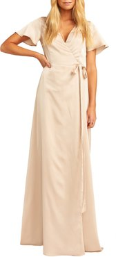 Noelle Satin Wrap Evening Dress