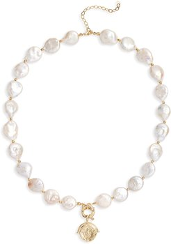 Coin & Imitation Pearl Necklace