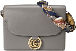 Medium Gg Ring Leather Shoulder Bag With Foulard Carre Flags Scarf - Grey