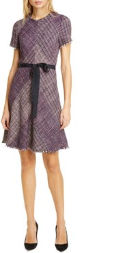 Cotton Blend Tweed Fit & Flare Dress