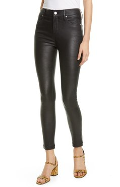 Madrid High Waist Leather Ankle Skinny Pants