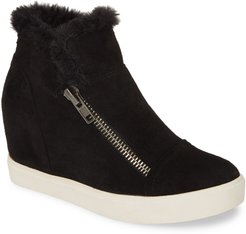 Later Days Faux Fur Wedge Sneaker