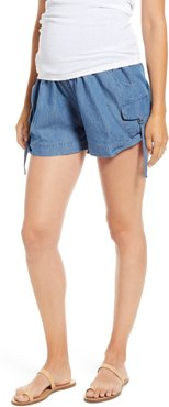 Over The Belly Utility Maternity Shorts