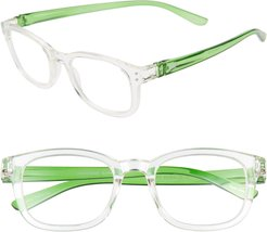 The Anna 49Mm Reading Glasses - Diamond Crystal Clear/ Green