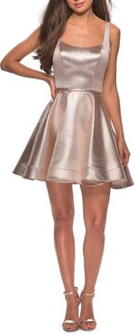 Metallic Fit & Flare Cocktail Dress