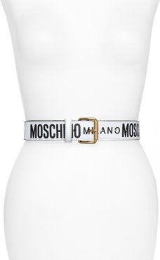 Logo Print Vinyl Belt Black