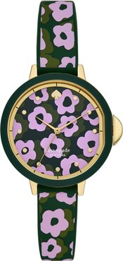 Kate Spade Park Row Floral Silicone Strap Watch, 34Mm