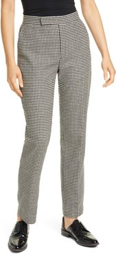 Houndstooth Check Wool Blend Trousers