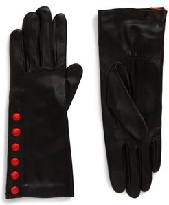 Color Pop Button Lambskin Leather Gloves