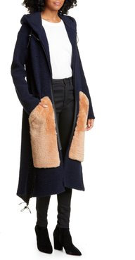Wool Blend Hooded Cardigan With Genuine Shearling Pockets