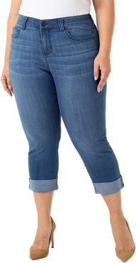 Plus Size Women's Liverpool Charlie Wide Cuff Crop Jeans