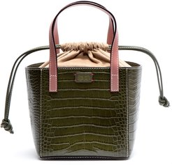 Moxy Croc Embossed Leather Tote - Green