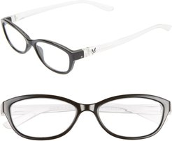 The Haley 48Mm Oval Reading Glasses - Black/ Crystal