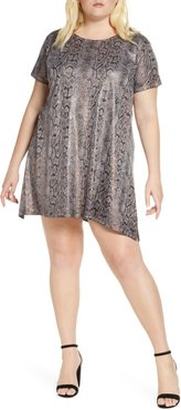 Plus Size Women's Dantelle Metallic Snake Print Minidress