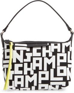 Lonchamp Mini Le Pliage Logo Nylon Shoulder Bag - Black