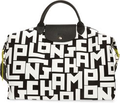 Large Le Pliage Logo Nylon Travel Tote - Black