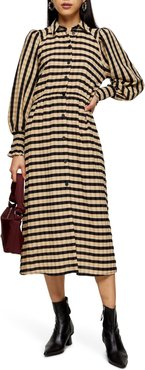 Stripe Long Sleeve Midi Shirtdress