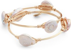 Bourbon & Bowties Set Of 2 Cultured Pearl Wire Wrapped Bangles