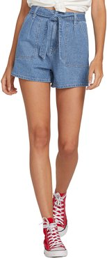 Tongue Tied Pinstripe Belted Denim Shorts