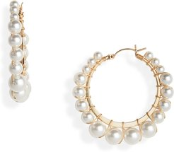 Small Bella Swarovski Imitation Pearl Hoop Earrings