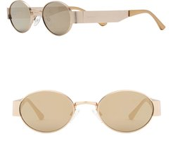 X Kkw Indra 47Mm Round Sunglasses - Gold/ Gold Mirror