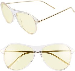 Godspeed 58Mm Aviator Sunglasses - Clear/ Yellow