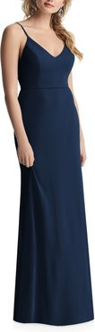 Cowl Back Chiffon Trumpet Gown