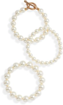 Set Of 3 Imitation Pearl Bracelets