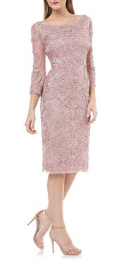 Soutache Chiffon Sheath Dress